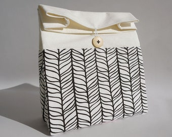 Lunch-Bag für Frauen / wiederverwendbare Mittagessen Tasche / Tasche schwarz / weiß-Mittagessen mit Griff / Sac Déjeuner