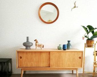 vintage Teak Spiegel, rund, midcentury, true vintage, made in Denmark, danish design Holz, 60er, Flur Schlafzimmer, Garderobe