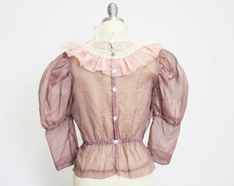 Vintage 1930s Blouse - Sheer Organza Pink Ruffle Embroidered Leg-O-Mutton Edwardian Top - Small