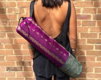 Handmade YOGA mat BAG made from upcycled VINTAGE Indian Sari material