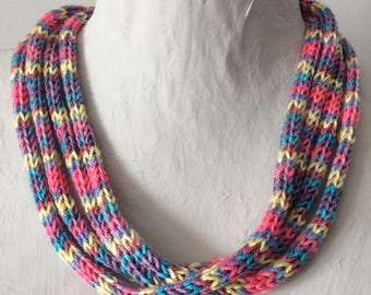 Bright multi-strand knitted necklace