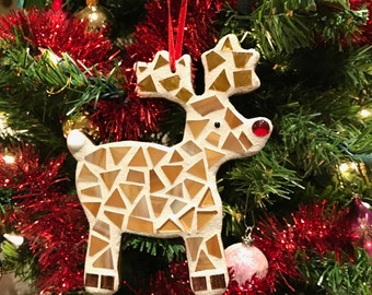 Stained Glass Mosaic Reindeer Hanging Accent, Reindeer Ornament, Christmas Ornament, Mosaic Ornament, Hostess Gift, Reindeer