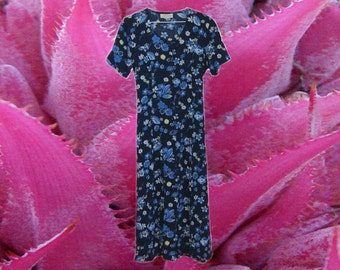 Maxi Navy Blue Floral Buttoned Dress