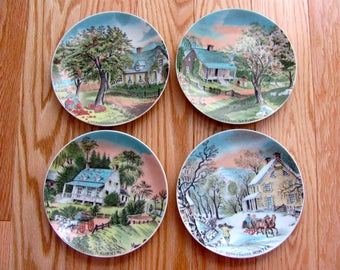Vintage 60s Currier and Ives Four Seasons Plates, Set of Four