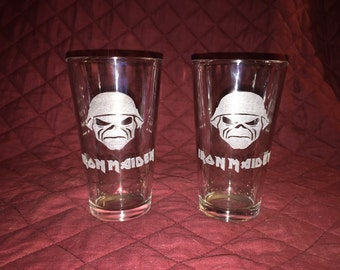 2 Hand Etched Iron Maiden Pint Glasses!