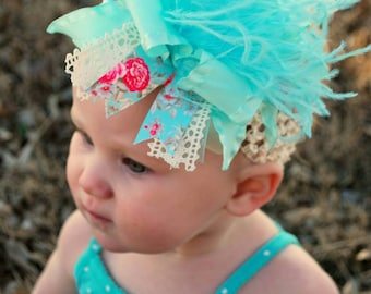 Vintage Inspired Aqua & Ivory Floral Over The Top Boutique Hairbow