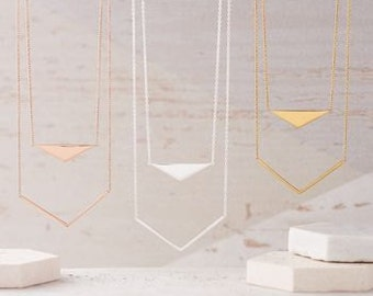Geometric Double Layer Necklace in Gold
