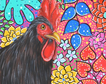 "Colorful Rooster Original Acrylic Painting Stretched Canvas 12"" x 12"""