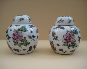 Vintage pair small porcelain chinese ginger jars, flowers/butterfly/grasshopper decor, hand painted