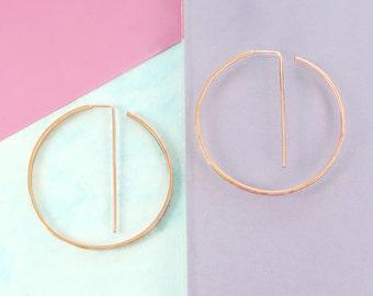 Rose Gold Earrings, Rose Gold Hoops, Large Earrings, Statement Earrings, Geometric Earrings, Round Hoops, Edgy Earrings, Textured Earrings