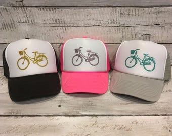 Bicycle Hat, Bike Hat, Biker Hat, Bicycling, Bicycling Hat, Summer Trucker Hat, Cute trucker hat