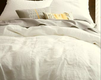 100% washed linen double queen bedding duvet cover cream