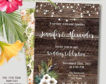 Printable Wedding Invitation, tropical wedding Invite, printable wood templates, Instant Download Self-Editable PDF A233