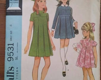 Vintage McCall's  #9531 Sewing Pattern for Girl's Pleated Dress (3 Styles)