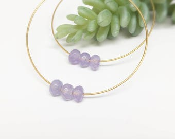 Gold thin hoop, silver hoop earrings, big hoop earrings, thin gold hoops, hoop earring with beads, gemstone hoops, beaded hoops, gold hoops