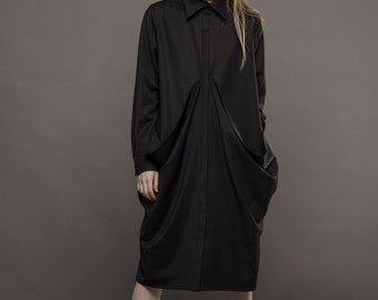 Black shirt dress/ Black shirt /Shirt dress/ Black long shirt / Long sleeve shirt / Black shirt dress / Asymmetrical shirt / Avantgarde