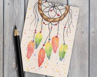 ACEO, dreamcatcher art #1, original watercolour, native american, original painting, tiny artwork, watercolor painting, miniature painting
