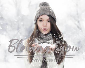 38 Blowing Snow photo Overlays, christmas overlays, photoshop overlays, snow overlays, blowing snow, holiday overlays, winter overlays