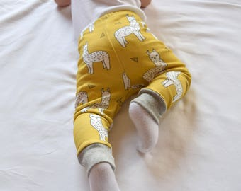 Baby Leggings Llama Alpaca, Mustard Llama Baby Pants, Organic Infant Leggings Alpaca, Modern Baby Clothes