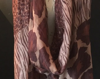 Brown Leopard Scarf And A Half