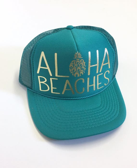 Aloha Beaches Hat| Aloha Trucker Hat| Aloha Hat| Trucker Hat| Hawaii Hat| Pineapple Hat| Pineapple| Beach Hat| Jade Hat