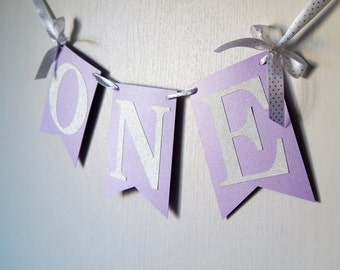 Purple and Silver Glitter Highchair Banner, I AM ONE, Lavender and Glitter