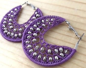boho purple earrings, purple round earrings, large crochet hoops, chunky woven hoops, big chunky earrings, tribal earrings, purple earrings