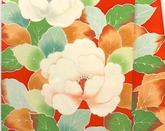 Vintage Japanese Kimono Fabric, Kimono Cutting Cloth, Peony