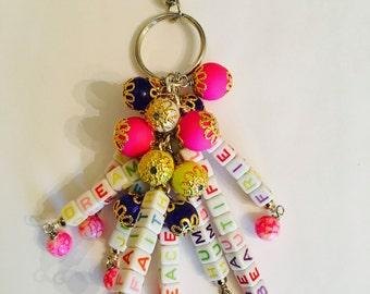 Inspirational words handmade purse charm jewelry accessory.