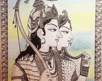 Rama Sita Mughal art inspired home decor /gift
