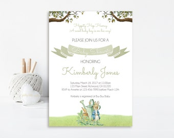 Peter Rabbit Baby Shower Invitation, Printable Peter Rabbit Baby Shower Invitation, Baby Shower Invitation, Peter Rabbit, Boy Baby Shower