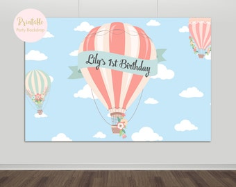 Up Up and Away Backdrop, Hot Air Balloon Backdrop, Baby Shower, First Birthday, Printable Backdrop, Birthday Party, Printable, YOU PRINT