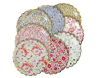 """Floral Party Plates, Paper Plates, Garden Party, Floral Wedding, Hen Party, Bridal Shower, Baby Shower, Wedding Shower, Garden Party, 9"""""""