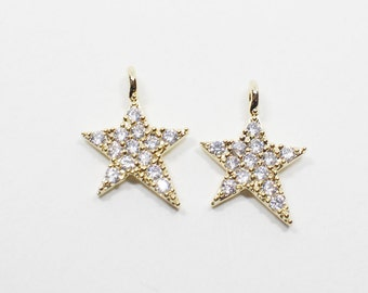 P0549/Anti-Tarnished Gold Plating Over Brass/Unbalance Cubic Star Pendant/10x12mm/2pcs