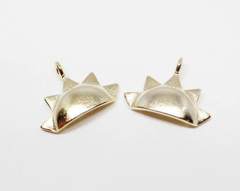 P0614/Anti-Tarnished Gold Plating Over  Brass/Half Circle with Spikes Pendant/14x10mm/2pcs