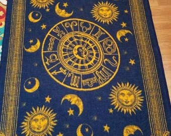 Vtg Biederlack Blue Gold Astrological Chart Moon Stars Celestial Blanket USA