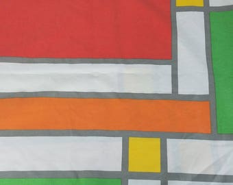 Vtg Yves St Laurent 1978 Color Block Geometric Queen Percale Flat Sheet Utica