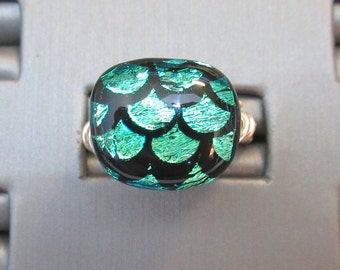 Dichroic glass & Sterling Silver Adjustable Ring - g0840r12