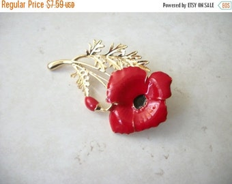 ON SALE Retro Gold Red Black Poppy Seed Enamled Metal Pin 30117