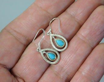 Vintage Handmade Sterling Silver Natural Turauoise Earrings
