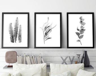 Set of 3 Prints, Set of 3, Printable, Black White, Botanical Prints, Print Set, Home Decor, Botanical Print Set, Wall Art, Botanical Art