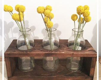 Wooden box with glass vases centerpiece, flower vase arrangement, 3 glass flower holder with wooden box, rustic home decor,