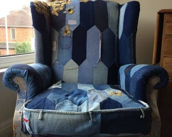 Bespoke denim patchwork re-upholstered high wing back chair. All hand sewn. One of a kind.
