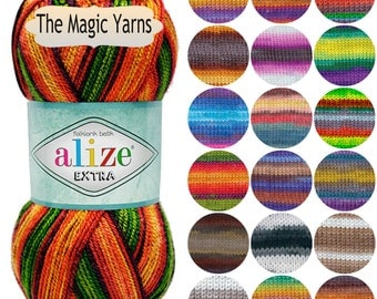 Socks yarn Extra FOLKLORİK BATİK by Alize, acrylic yarn, crochet yarn, knitting yarn, batik yarn, selfstriping yarn, worsted, heavy weight,