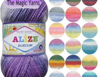 Alize Burcum Bebe Batik- Soft acrylic yarn, multicolor, self striping yarn, worsted acrylic yarn, heavy worsted knitting yarn, baby yarn