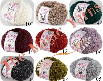 Boucle yarn, Fancy yarn, little loop yarn, wool yarn, wool blend, wool acrylic, scarf, hats,