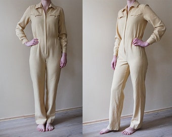 Vintage Yellow Overalls Bright Yellow Jumpsuit Womens Onesie Long Jumpsuit One piece Yellow Onesie