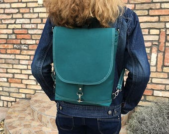 Vegan Canvas Backpack, Emerald Women Bag, Solid Rucksack