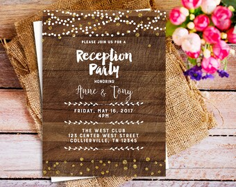 rustic reception party invitation, string light wood reception party invitation, printable reception party invitation, reception only invite