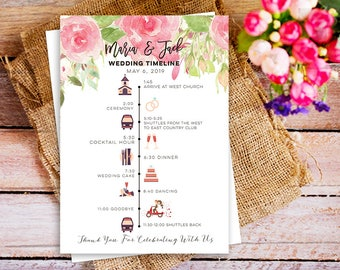 Floral Pink Wedding Party Schedule Timeline, floral printable wedding itinerary, timeline with icons, floral wedding program, diy wedding